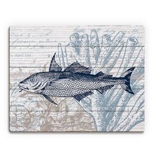 'Vintage Blue Fish' Wood Wall Art