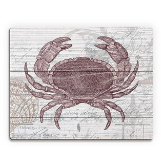 'Vintage Red Crab' Multicolor Wood Abstract Wall Art