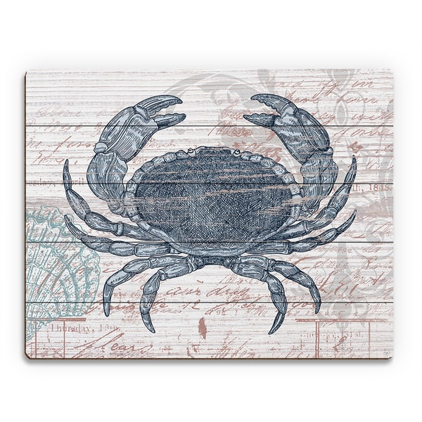 'Vintage Blue Crab' Wood Abstract Wall Art