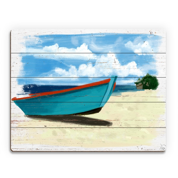 'Beached Boat' Wood Wall Art
