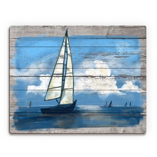 'Sailing Away- Blue' Wood Wall Art