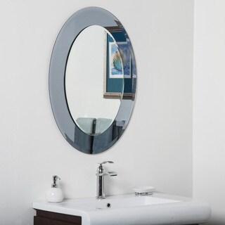 Cayman Glass Beveled Round Bathroom Mirror - Silver - 31.5Hx23.6Wx.5D