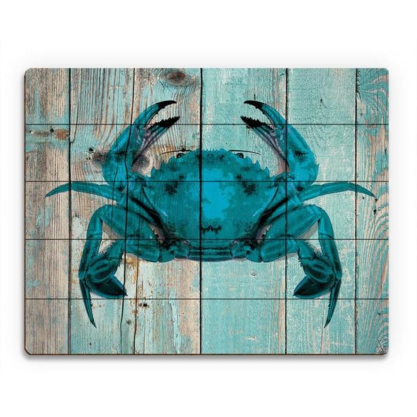 Crab on Sky Plank Wood Wall Art
