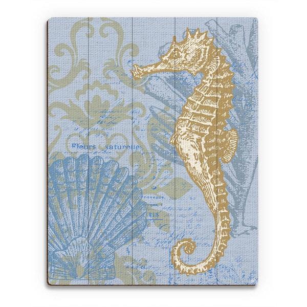 'Damask Seahorse' Blue Wood Wall Art