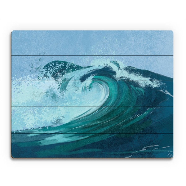 'Cerulean Torrent Mist' Birchwood Wall Art