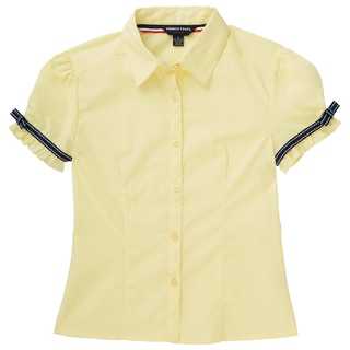 French Toast Girls' Cotton and Polyester Short-sleeve Ribbon Bow Blouse