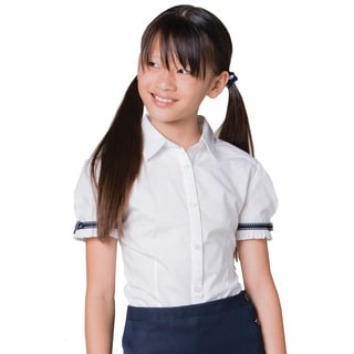 French Toast Girls' White Cotton and Polyester Short-sleeve Ribbon Bow Blouse