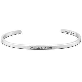 Pink Box 'One Day at a Time' Stainless Steel 3-millimeter Cuff Bracelet
