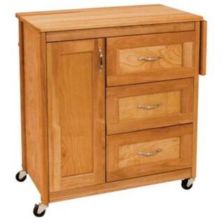 Honey Hardwood Drawer Cart With Side Drop Leaf