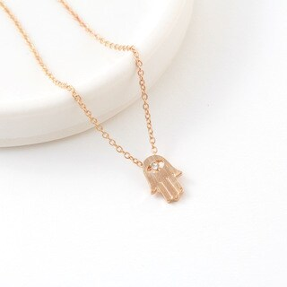 Yellow Gold Overlay Hamsa Charm Necklace