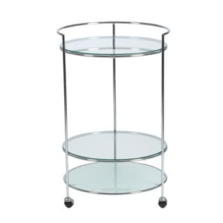 Roberta Rolling Cart in Clear and Frosted Glass with Chrome Frame