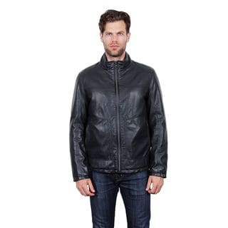 Tahari Black Faux Leather Bomber Jacket