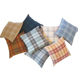 Plaid Wool Down Filled Throw Pillows