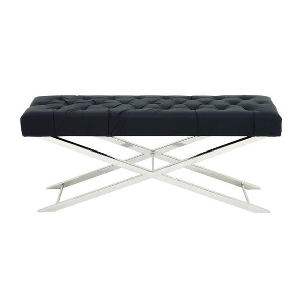 Amazing Black and Chrome Stainless Steel Tufted Leather Bench