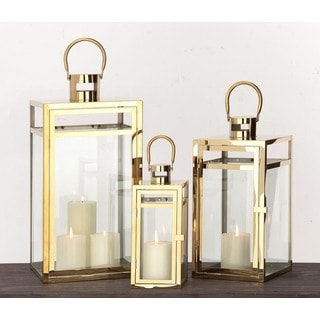 Urban Designs Brass Lantern Pillar Candle Holders (Set of 3)