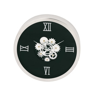 Urban Designs Black/ Silver-finish Stainless Steel/ Wood Industrial Gear Round Wall Clock