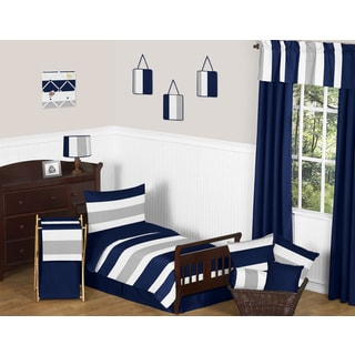 Sweet Jojo Designs Navy Blue and Grey Stripe 5-piece Toddler Comforter Set