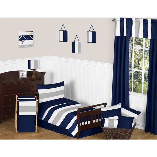 Sweet Jojo Designs Navy Blue and Grey Stripe 5-piece Toddler Comforter Set