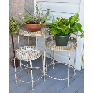 Pyper Marketing Antiqued Metal Plant Stands (Pack of 3)