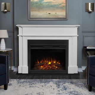 Harlan White Finish 55.13 in. L x 13.5 in. D x 44.13 in. H Electric Grand Fireplace by Real Flame