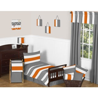 Sweet Jojo Designs Grey and Orange Stripe Toddler 5-piece Comforter Set
