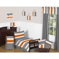 Sweet Jojo Designs Grey and Orange Stripe Toddler 5-piece Comforter Set