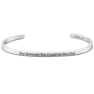 Pink Box 'She Believed She Could' Stainless Steel 3-millimeter Cuff Bracelet