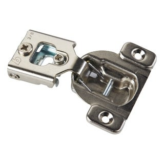 Metal 105-degree Compact 38N Series 1/2-inch Overlay Edge Mount Screw-on Self-closing Cabinet Hinge (Case of 20)