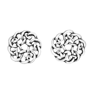 Handmade Continuity Celtic Knot Donut Sterling Silver Stud Earrings (Thailand)
