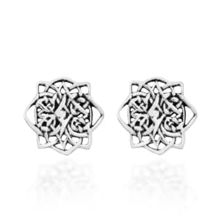 Mystic Lotus Celtic Knot Sterling Silver Post Earrings (Thailand)