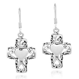 Filligree Cross Sweet Swirl Heart Sterling Silver Earrings (Thailand)