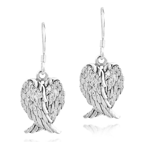 Handmade Heavenly Love Heart Shaped Angel Wings .925 Silver Earrings (Thailand)