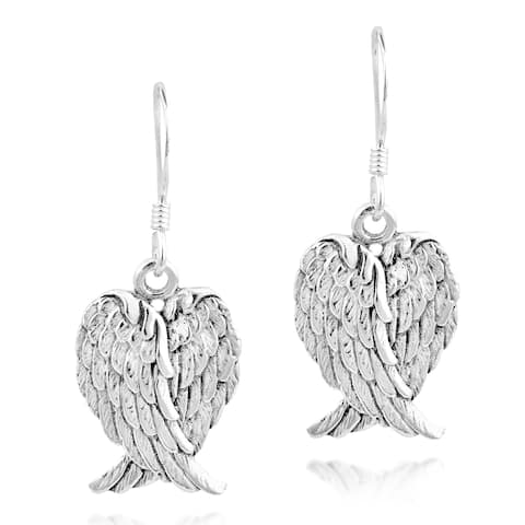 Handmade Heavenly Love Heart Shaped Angel Wings .925 Silver Earrings (Thailand)