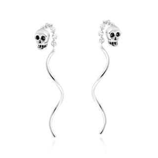 Handmade Skull Chain Thread Spiral Stick Slide .925 Silver Earrings (Thailand)