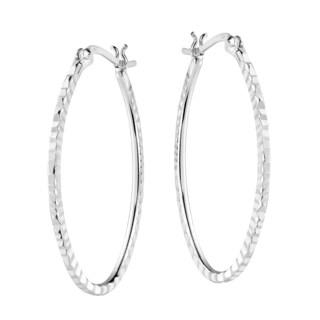 Modern Ridge Oval V Lock Hoop Sterling Silver Earrings (Thailand)