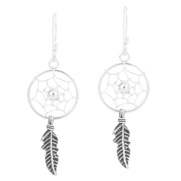 Bling Jewelry Feather Dream Catcher Sterling Silver Dangle Leverback Earrings PpdaSBNU