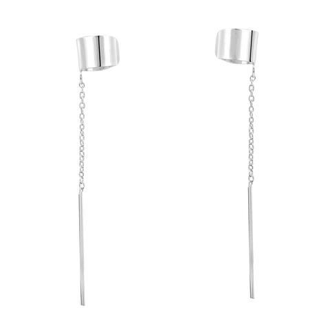 Handmade Simple Shiny Cuff Chain Thread Slide .925 Silver Earrings (Thailand)