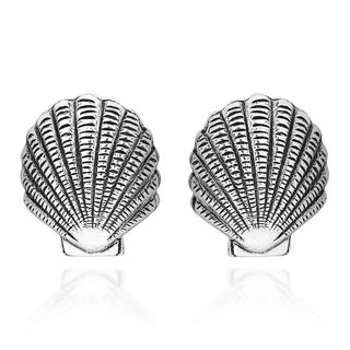 Beachy Seashell Shell Sterling Silver Stud Earrings (Thailand)