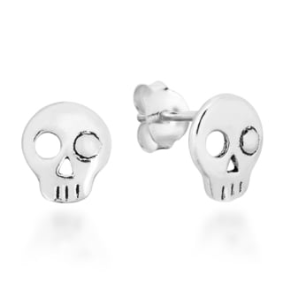 Punk Mini One Eyed Skull Sterling Silver Stud Earrings (Thailand)
