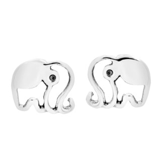 Happy Shiny Elephant Silhouette .925 Silver Stud Earrings (Thailand)
