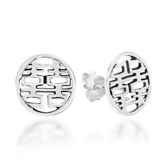 Double Happiness Chinese Symbol .925 Silver Stud Earrings (Thailand)