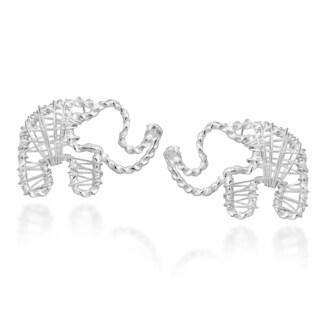 Handmade Artsy Wireworks Elephant Sterling Silver Stud Earrings (Thailand)