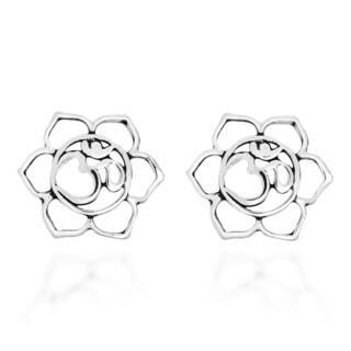 Mandala Open Lotus Om Aum Sterling Silver Stud Earrings (Thailand)