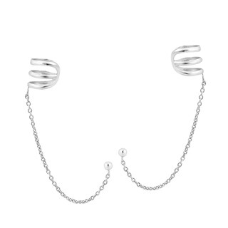 Handmade 9mm Mod Ear Cuff Draping Chain Sterling Silver Earrings (Thailand)