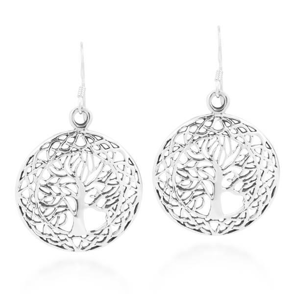 Handmade Round Tree of Life Celtic Frame .925 Silver Dangle Earrings (Thailand)