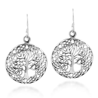 Round Tree of Life Celtic Frame .925 Silver Dangle Earrings (Thailand)