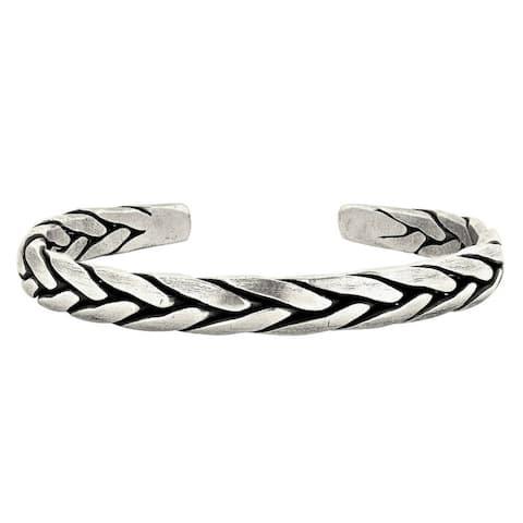 Handmade Hand Braided Karen Hill Tribe Solid Silver Cuff Bracelet (Thailand)