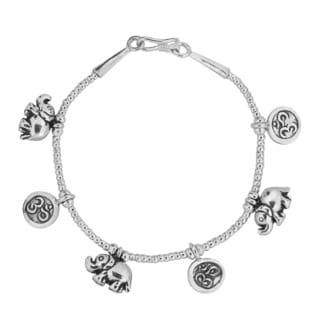 Inspired Om Elephant Hill Tribe Handmade Silver Bracelet (Thailand)