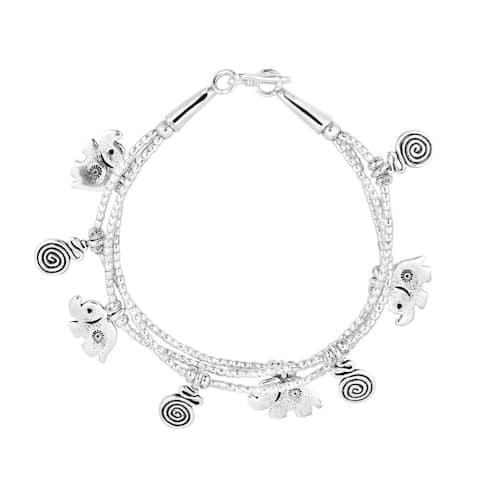 Handmade Exotic Elephant Swirl Hill Tribe Triple Silver Bracelet (Thailand)