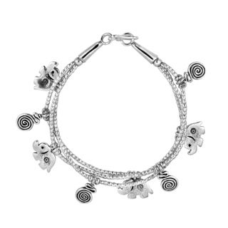 Exotic Elephant Swirl Hill Tribe Triple Silver Bracelet (Thailand)